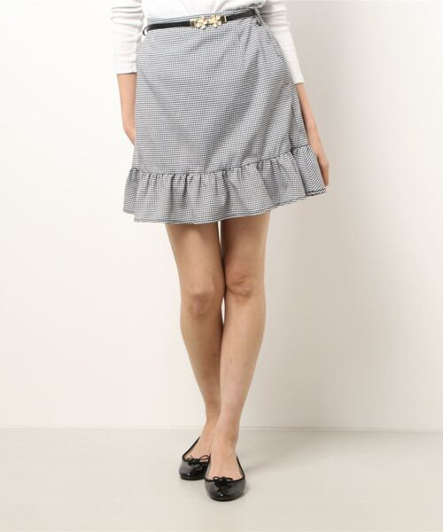ベルト付マーメイドミニスカート