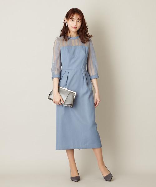 6823657d0b490 AIMER(エメ)のスタンドカラー ストライプレースコクーンドレス(ドレス)