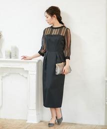 f57e52a76f437 PARTY DRESS(パーティードレス)の「スタンドカラー ストライプレースコクーンドレス(ドレス. AIMER
