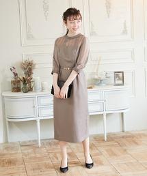 ea09fc99b1d91 PARTY DRESS(パーティードレス)の「スタンドカラー ストライプレースコクーンドレス(ドレス