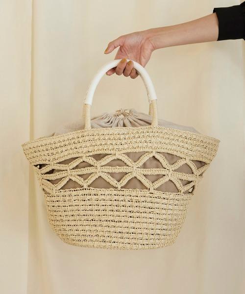 透かし編みかごトートバッグ