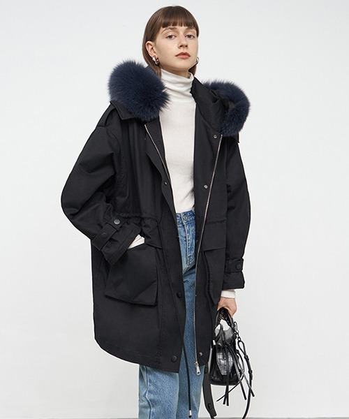 【Fano Studios】【2021AW】Fox fur military middle coat FD20W211