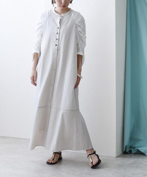 ギャザースリーブセミフレアシャツドレス