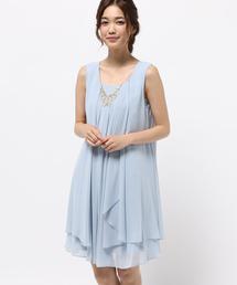Dorry Doll(ドリードール)のビジューネックレス付き2wayシフォンワンピース(ドレス)