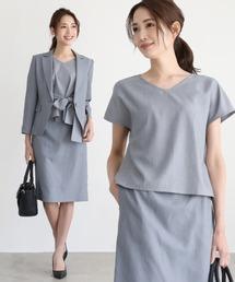 DRESS LAB(ドレスラボ)のジャケット&ベルト付き半袖セットアップスカートスーツ【4点セット】(セットアップ)