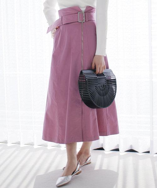 LADYMADE(レディメイド)の「フロントZIPスカート(スカート)」|パープル