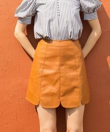 REDYAZEL(レディアゼル)の合皮ステッチ台形ミニスカート(スカート)