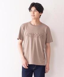 エンボスブランドロゴTシャツ 同色プリント ユニセックスベージュ