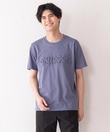 エンボスブランドロゴTシャツ 同色プリント ユニセックスダークブルー