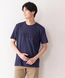 エンボスブランドロゴTシャツ 同色プリント ユニセックスネイビー