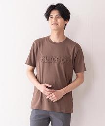 エンボスブランドロゴTシャツ 同色プリント ユニセックスブラウン