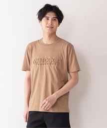 エンボスブランドロゴTシャツ 同色プリント ユニセックスダークベージュ