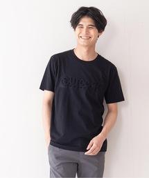 エンボスブランドロゴTシャツ 同色プリント ユニセックスブラック