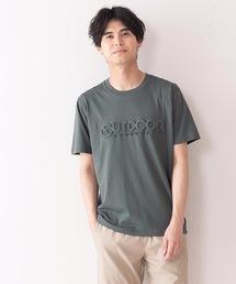 エンボスブランドロゴTシャツ 同色プリント ユニセックスダークグリーン