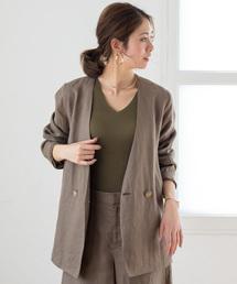 Loungedress(ラウンジドレス)のリネンシャツジャケット(ノーカラージャケット)