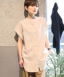 koe(コエ)の綿麻フレンチスリーブバンドカラーシャツチュニック(シャツ/ブラウス)