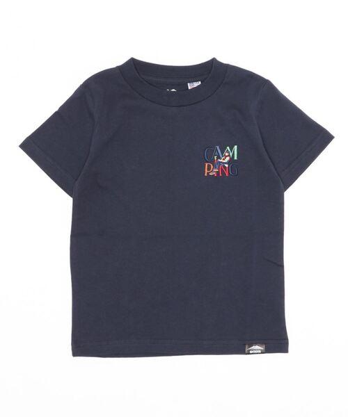 KIDS USAコットンCAMPモチーフワンポイント刺繍Tシャツ