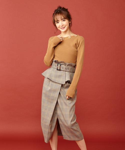 MIIA(ミーア)の「コルセットベルト付きタックタイトスカート(スカート)」|チェック