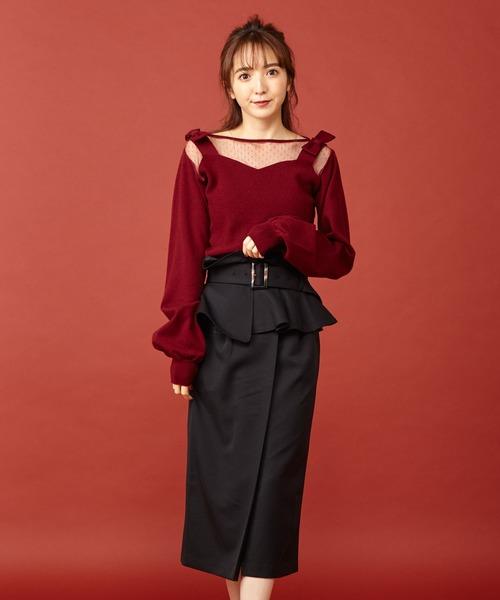 MIIA(ミーア)の「コルセットベルト付きタックタイトスカート(スカート)」|ブラック