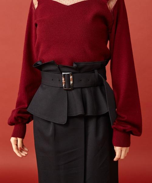 MIIA(ミーア)の「コルセットベルト付きタックタイトスカート(スカート)」|詳細画像