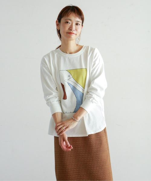 NOMBRE IMPAIR(ノンブルアンペール)の「ペリカンプリント ロンTEE(Tシャツ/カットソー)」 ホワイト