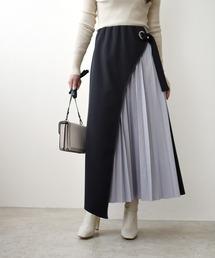 サイドプリーツ ボンディング ロングスカートチャコールグレー