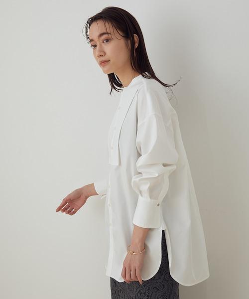 ADAM ET ROPE'(アダムエロペ)の「<洗える>【WEB限定】バンドカラーコンビシャツ(シャツ/ブラウス)」 ホワイト
