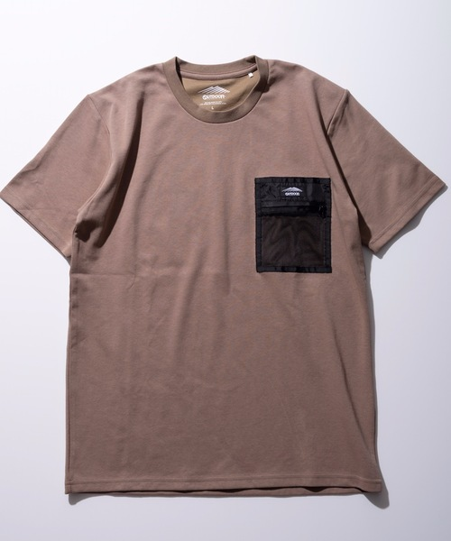 速乾/伸縮性ポンチ素材 ワンポイントブランドロゴメッシュポケットTシャツ