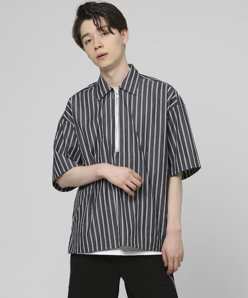 リングハーフジッププルオーバーストライプシャツ ~JAPAN MADE~