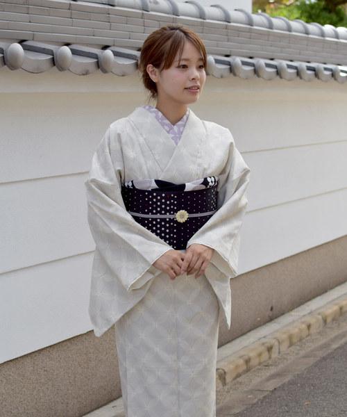Tokyo135°(トウキョウヒャクサンジュウゴド)の「Tokyo135° 着物デビューセット(洗える着物+あらえる半幅帯)2点セット 七宝 小紋(着物)」|ホワイト