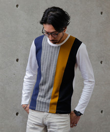 MEN'S MELROSE(メンズ メルローズ)のブロッキングTシャツ(Tシャツ/カットソー)