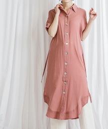 【STYLEBAR】シェルボタンシャツドレスピンク