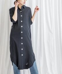 【STYLEBAR】シェルボタンシャツドレスブラック