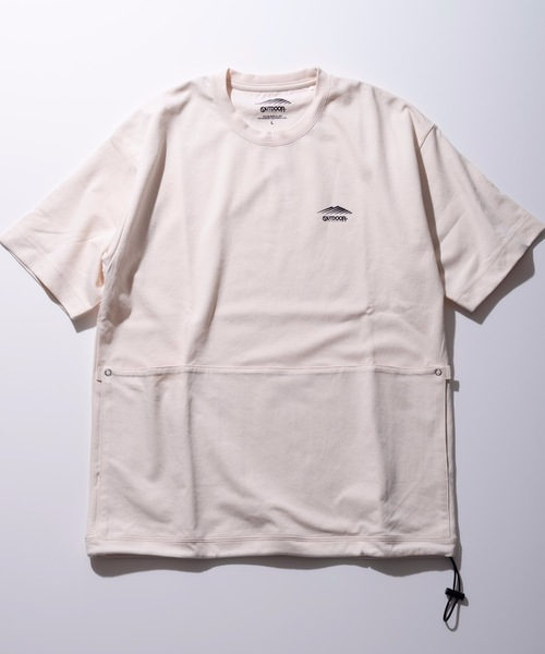 速乾/伸縮性ポンチ素材 ワンポイントブランドロゴポケット付きユーティリティーTシャツ
