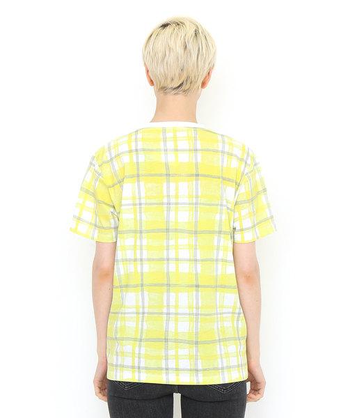 チェックパターンショートスリーブTシャツ/ウォーターカラーチェックアクア