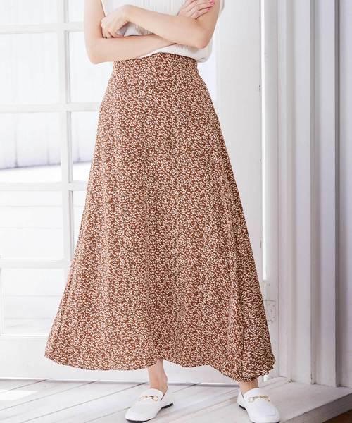 小花柄フレアロングスカート