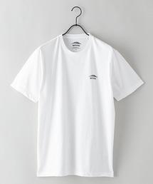 ドライ機能付き(速乾機能)ワンポイントブランドロゴ/ビッグシルエットTシャツホワイト