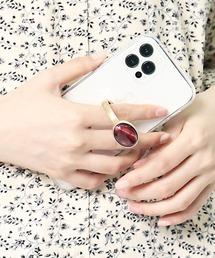 【 Hashibami / ハシバミ 】別注 iPhone12/12pro クリア スマホ・携帯カバー 天然石リング付きケースレッド