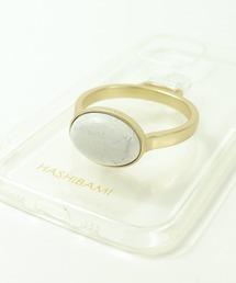 【 Hashibami / ハシバミ 】別注 iPhone12/12pro クリア スマホ・携帯カバー 天然石リング付きケースホワイト