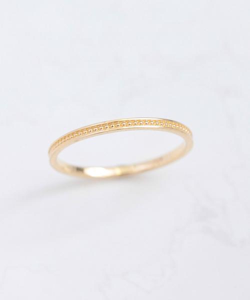 NOIR DE POUPEE(ノワールドプーペ)の「K10 シンプルミル レイヤードリング(リング)」|ゴールド
