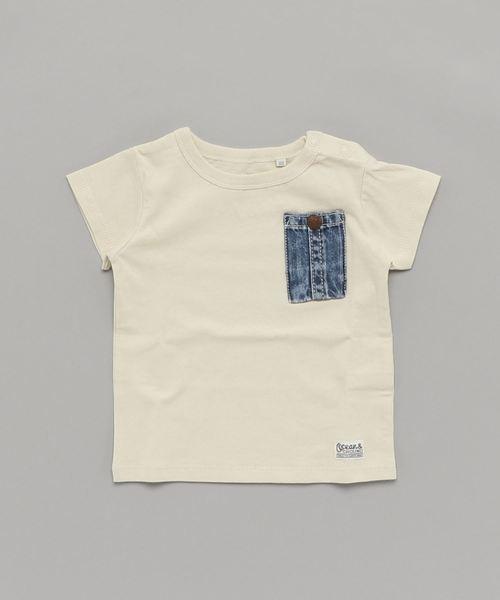 Ocean&Ground(オーシャン&グラウンド)の「DENIM POCKET T(80〜140cm)(Tシャツ/カットソー)」 クリーム