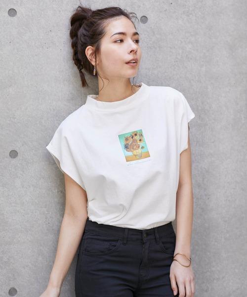 別注ARTプリントモックチュニックフレンチスリーブアートTシャツ