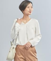 【WORK TRIP OUTFITS】★WTO Pサテン Vネック ブラウス