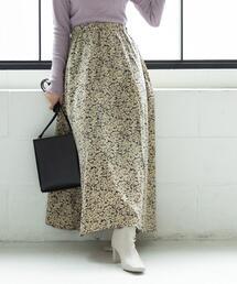 フラワープリントタックロングスカート#
