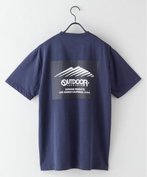 ドライ機能付き(速乾機能)バックプリント(背面)ブランドロゴ/ビッグシルエットTシャツネイビー