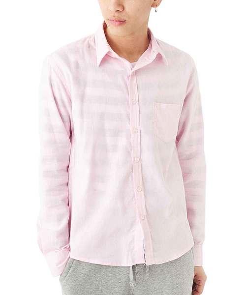 長袖 綿麻シャツ
