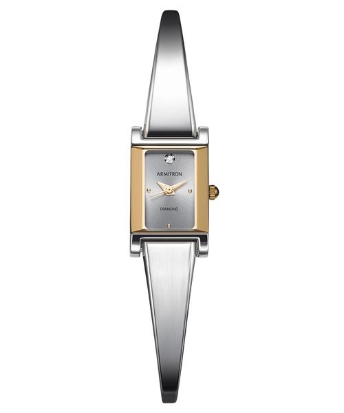 ARMITRON 腕時計 【本物のダイアモンド使用】 レディース アナログ ドレスバングルウォッチ ダイヤモンドダイヤル