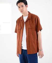 リネンレーヨンオープンカラーシャツ半袖