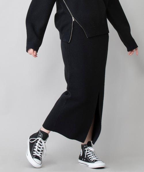 Munich(ミューニック)の「ラムウールダブルジャガードニット 2WAYタイトスカート(セットアップ可)(スカート)」|ブラック