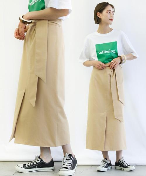 select MOCA(セレクトモカ)の「ハイウエストロング丈ペンシルスカート(スカート)」 ベージュ